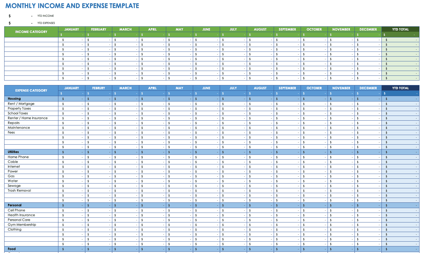 Small Business Expense Template Excel