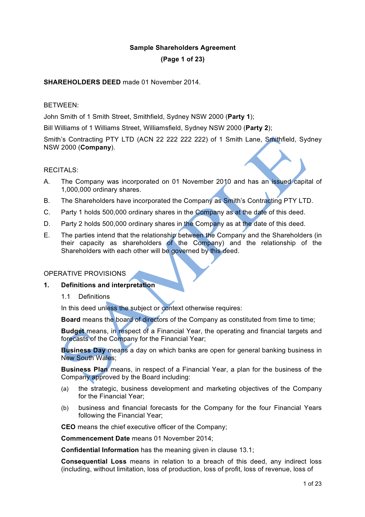 Small Business Shareholders Agreement Template