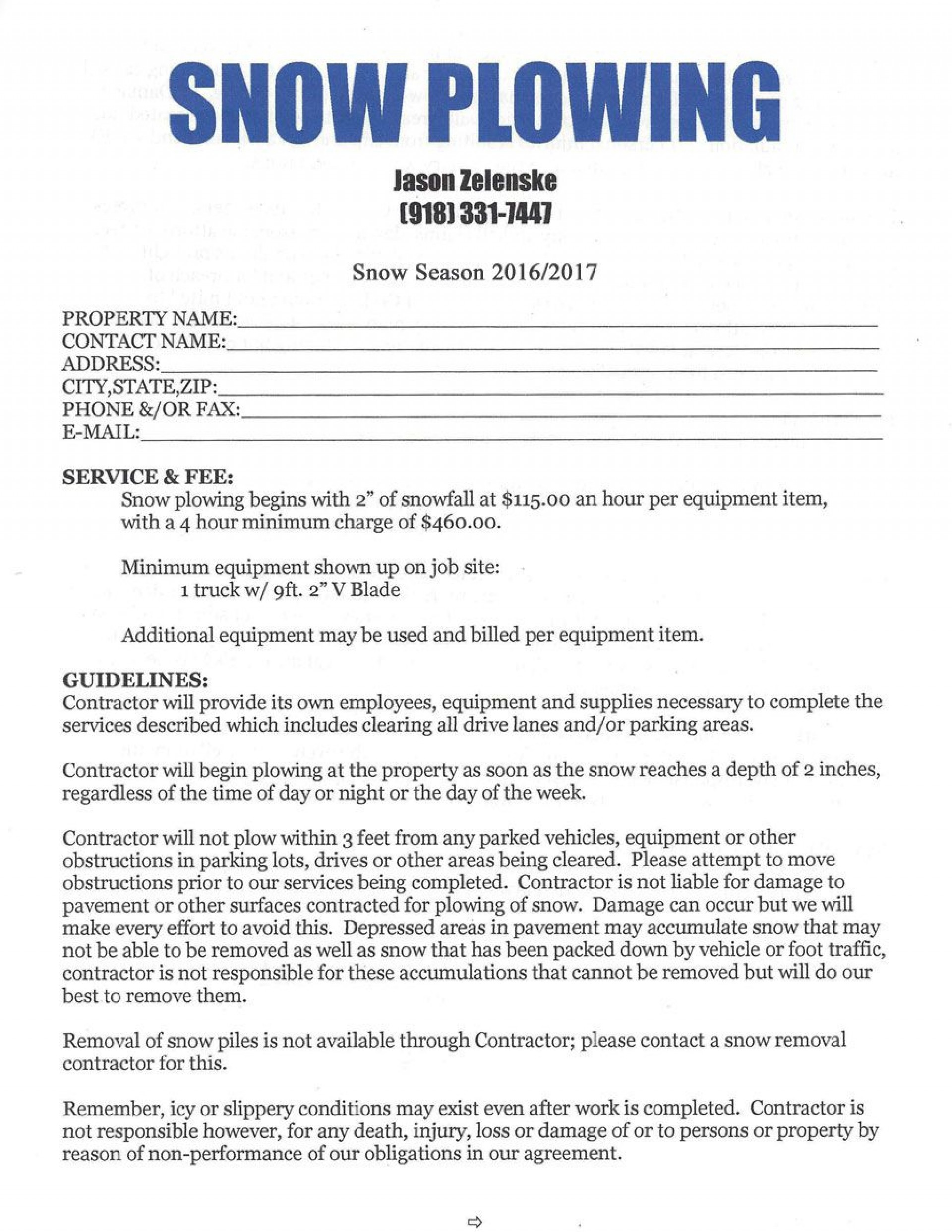Snow Removal Contract Templates