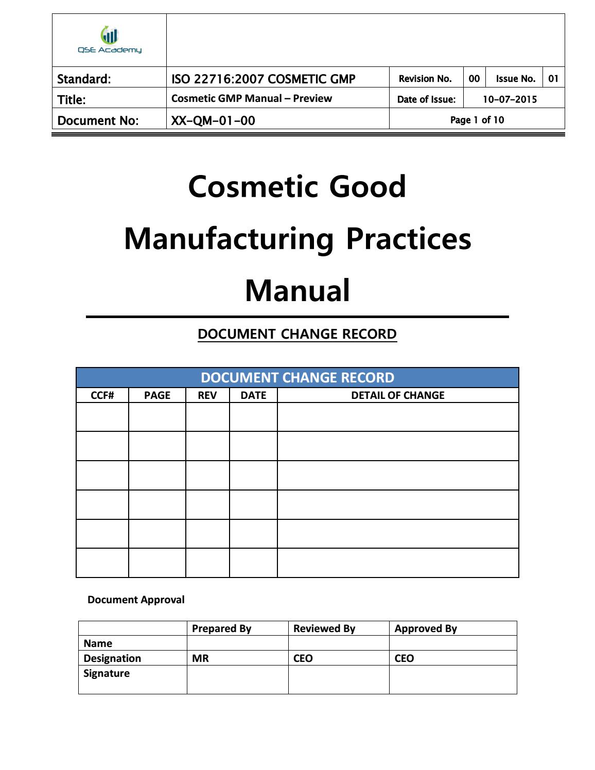 Sop Template For Cosmetic Industry
