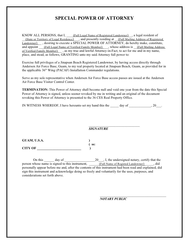 Special Power Of Attorney Sample Template