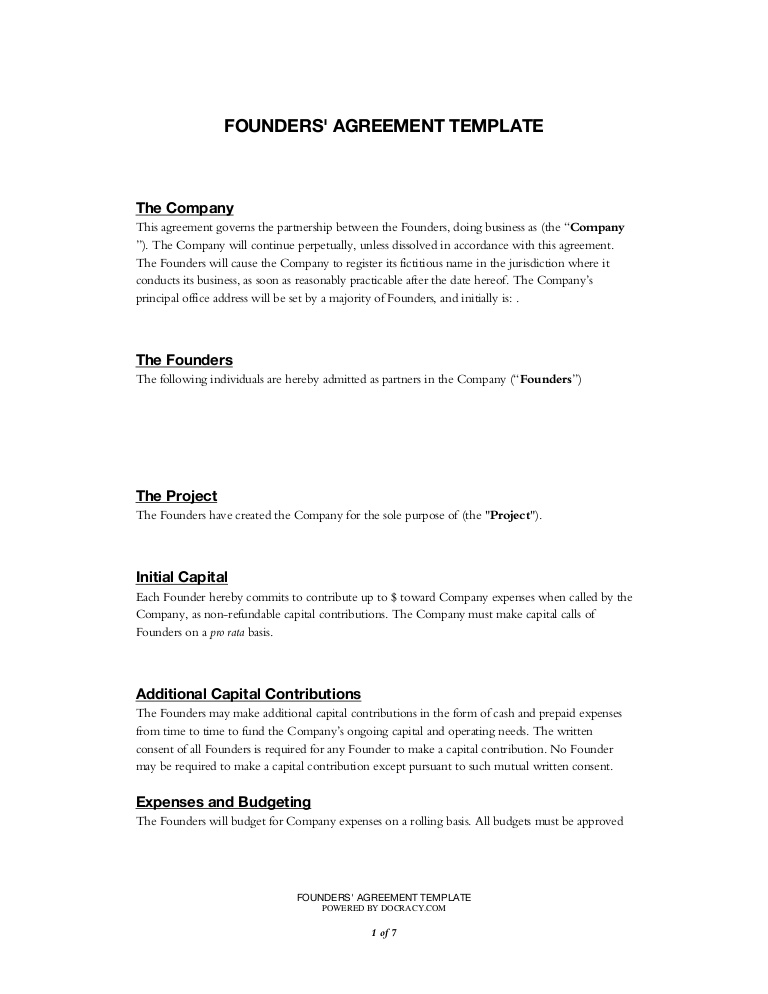 Startup Partnership Agreement Template
