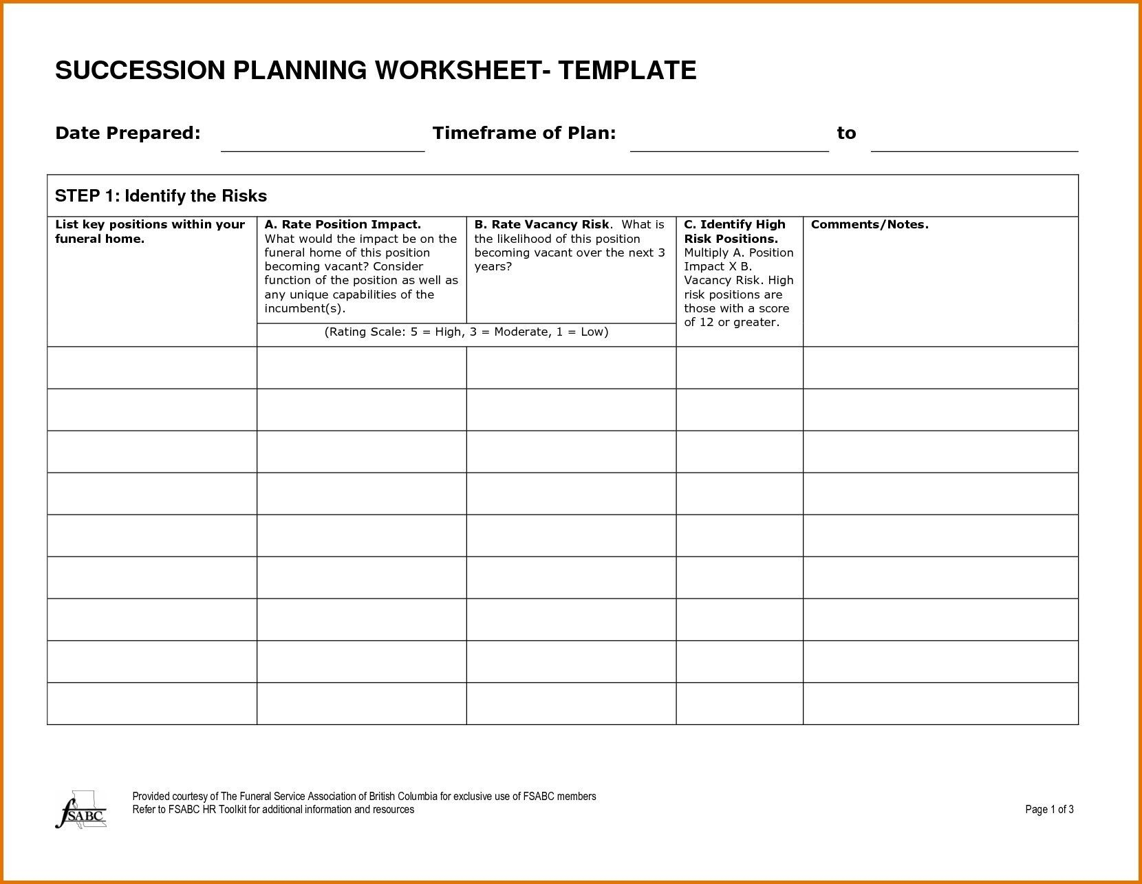 Succession Plan Templates Free