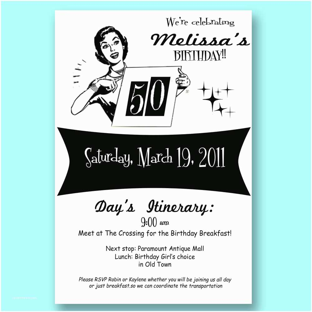 50th Birthday Party Invitations Vintage Retro 50th Birthday Invitation 30 40 50 Mad By