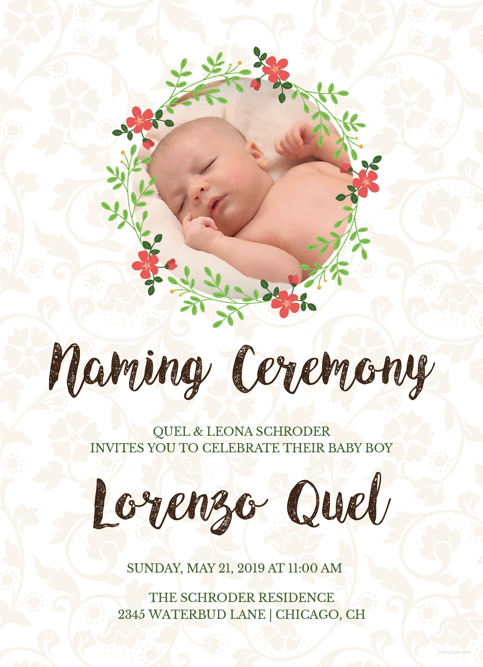 Template Baby Boy Naming Ceremony Invitation Card