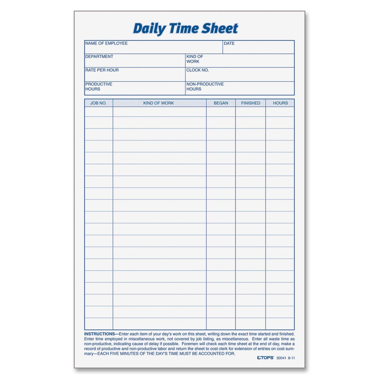 Template For Timesheets For Employees