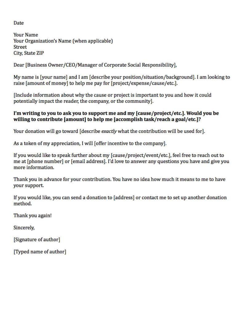 Template Letter Asking For Donations From Businesses