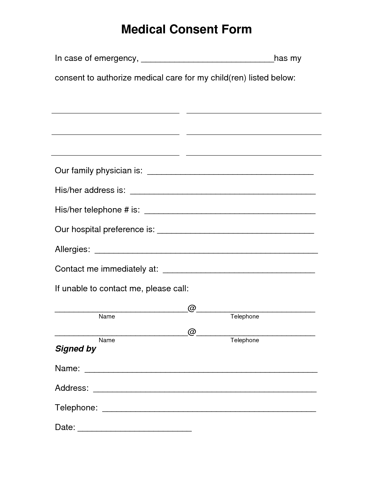 Template Printable Medical Waiver Form