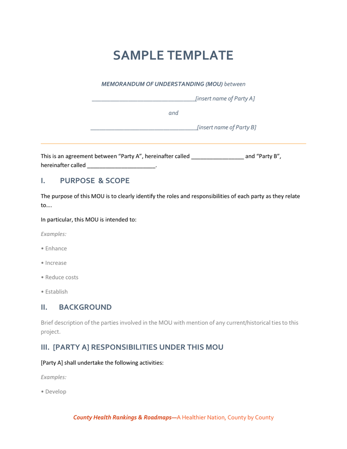 Template Sample Memorandum Of Understanding