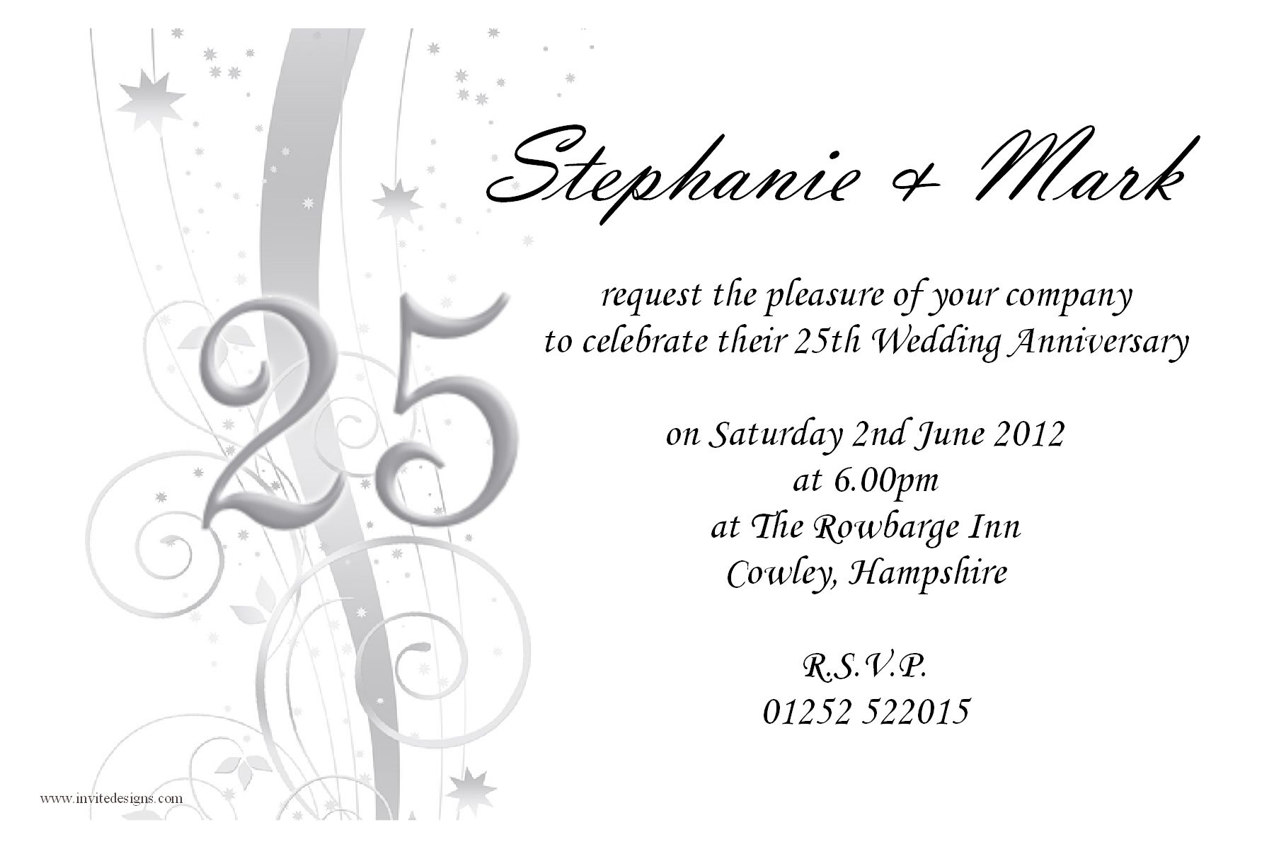 Templates For 25th Wedding Anniversary Invitations