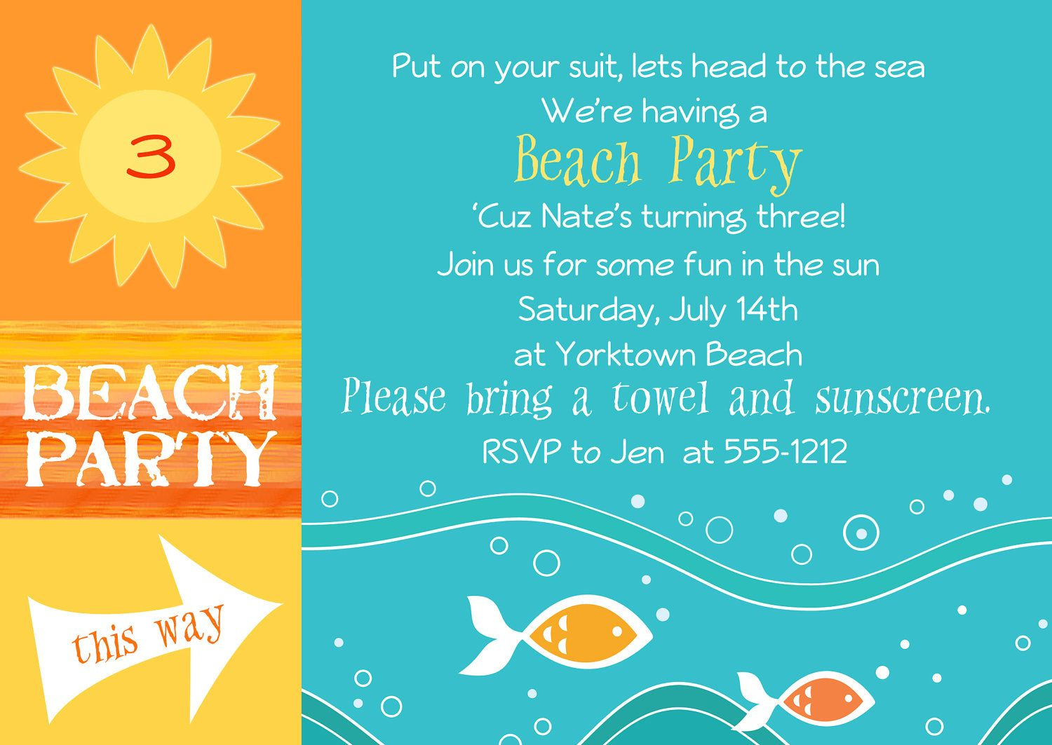 Templates Free Beach Birthday Party Invitation Template