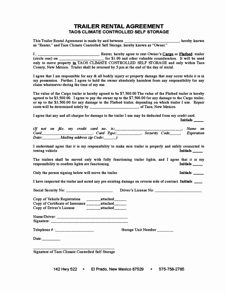 Trailer Hire Agreement Template