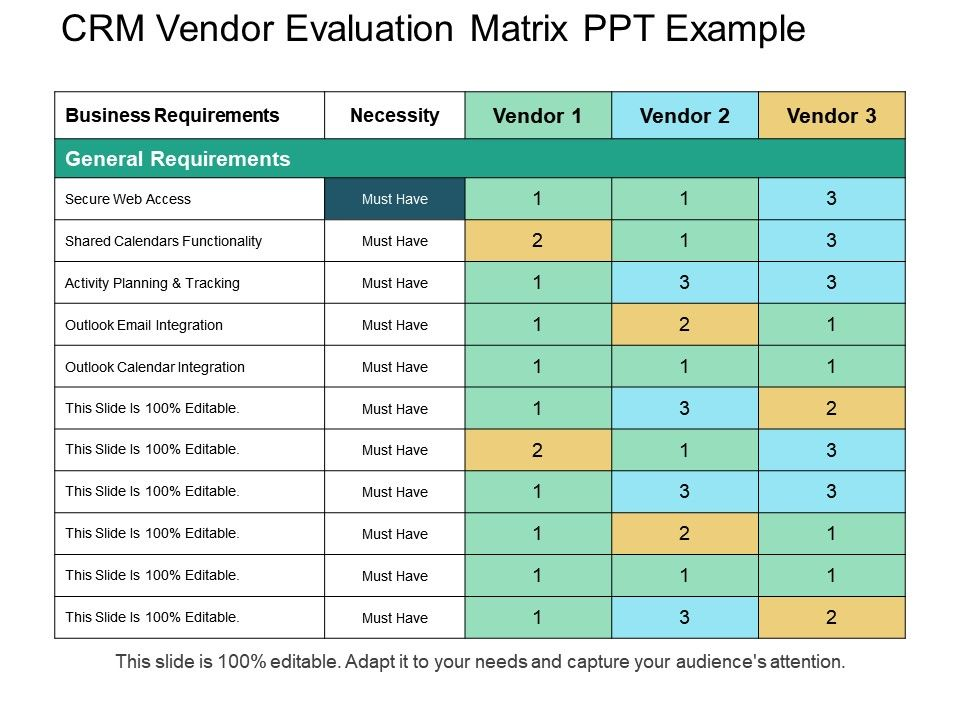 Vendor Selection Vendor Management Excel Template