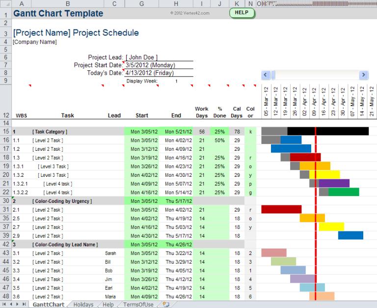 Weekly Gantt Chart Template Excel Free