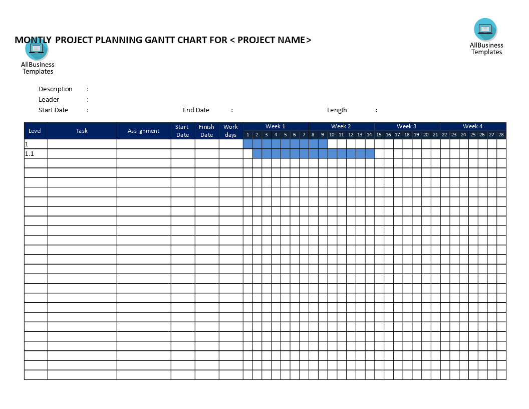 Weekly Gantt Chart Template