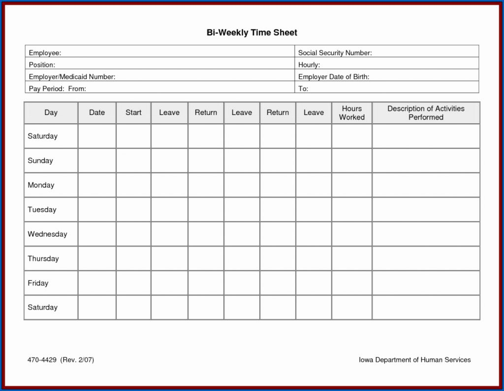 Weekly Printable Employee Timesheet Template