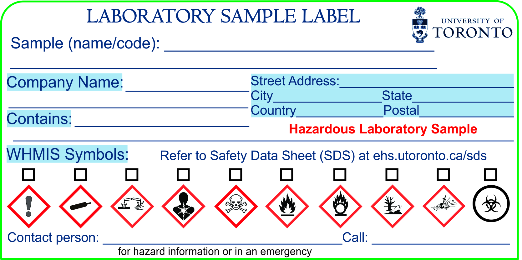 Whmis Workplace Label Template