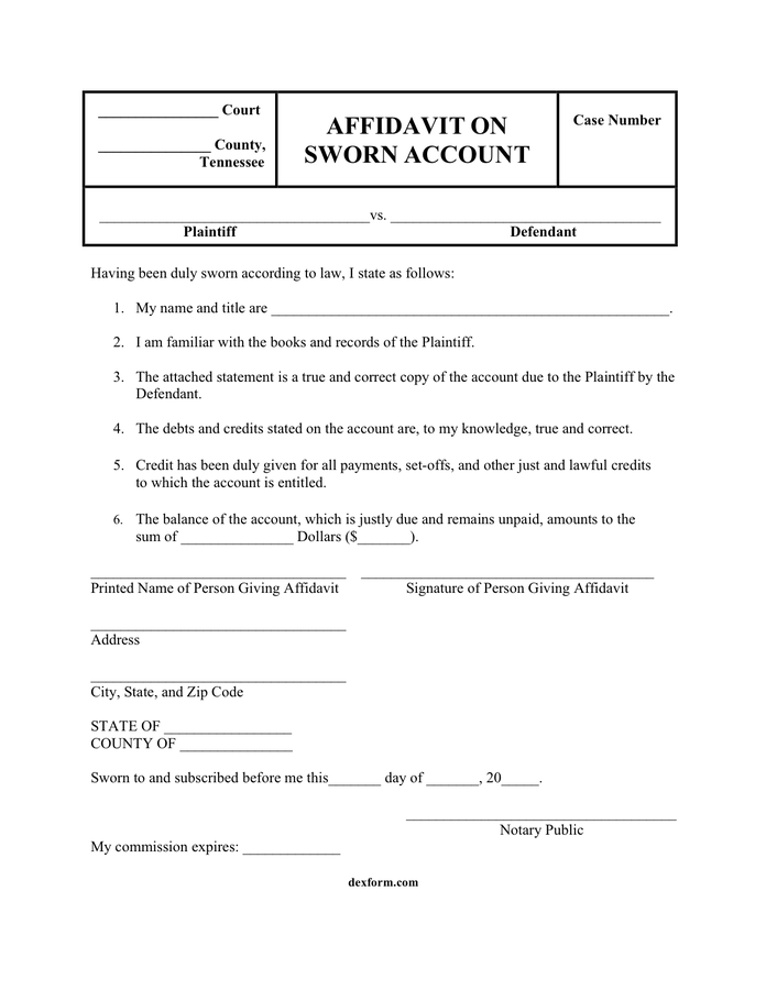 Word Affidavit Template