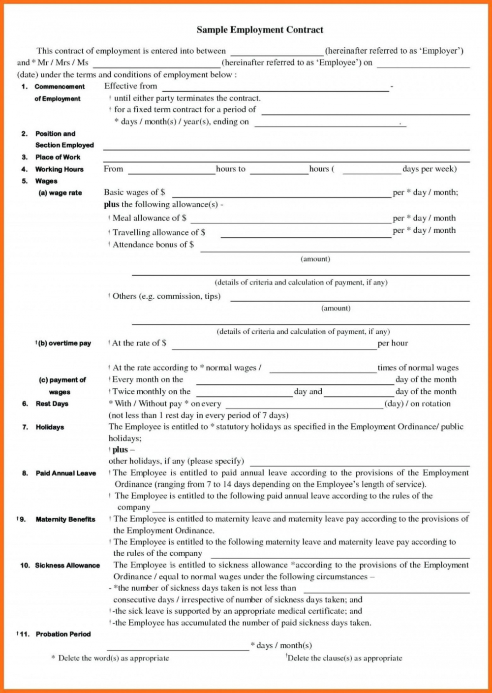 Word Casual Employment Contract Template