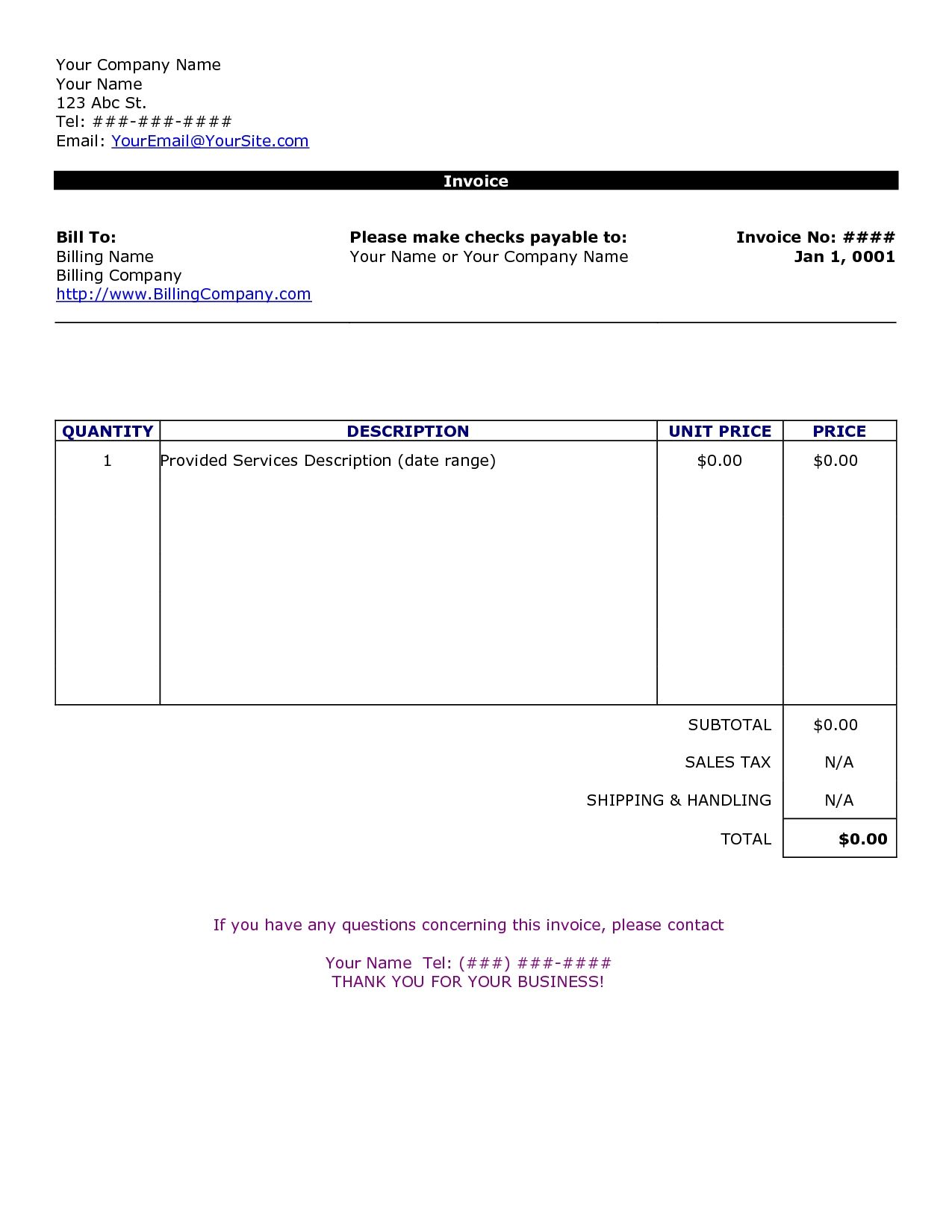 Word Document Invoice Template Uk Word