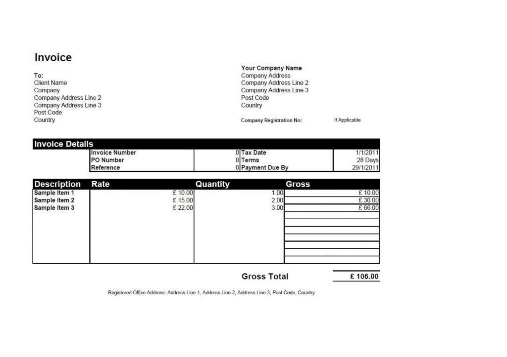 Word Sole Trader Invoice Template Uk