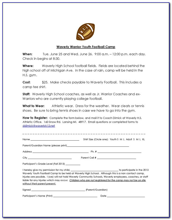Word Youth Football Registration Form Template
