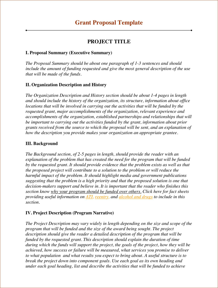 Writing A Proposal For Funding Template
