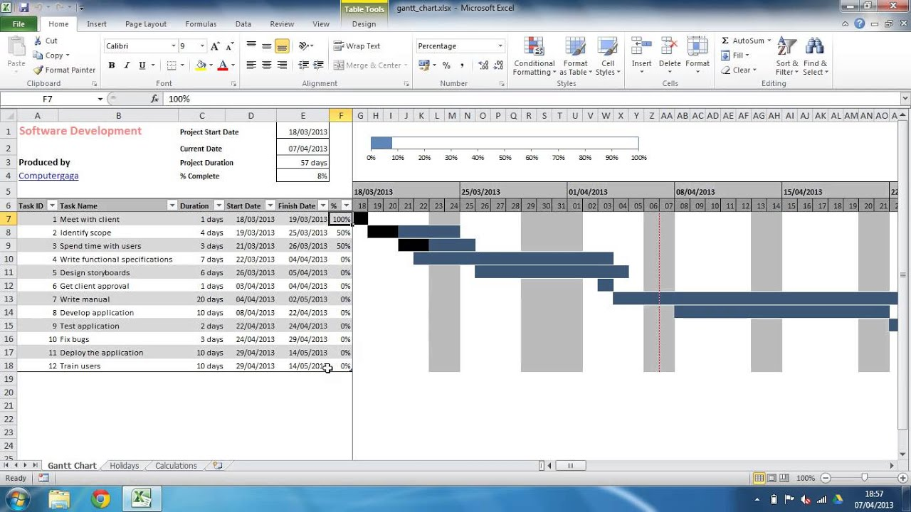 Xls Monthly Gantt Chart Excel Template