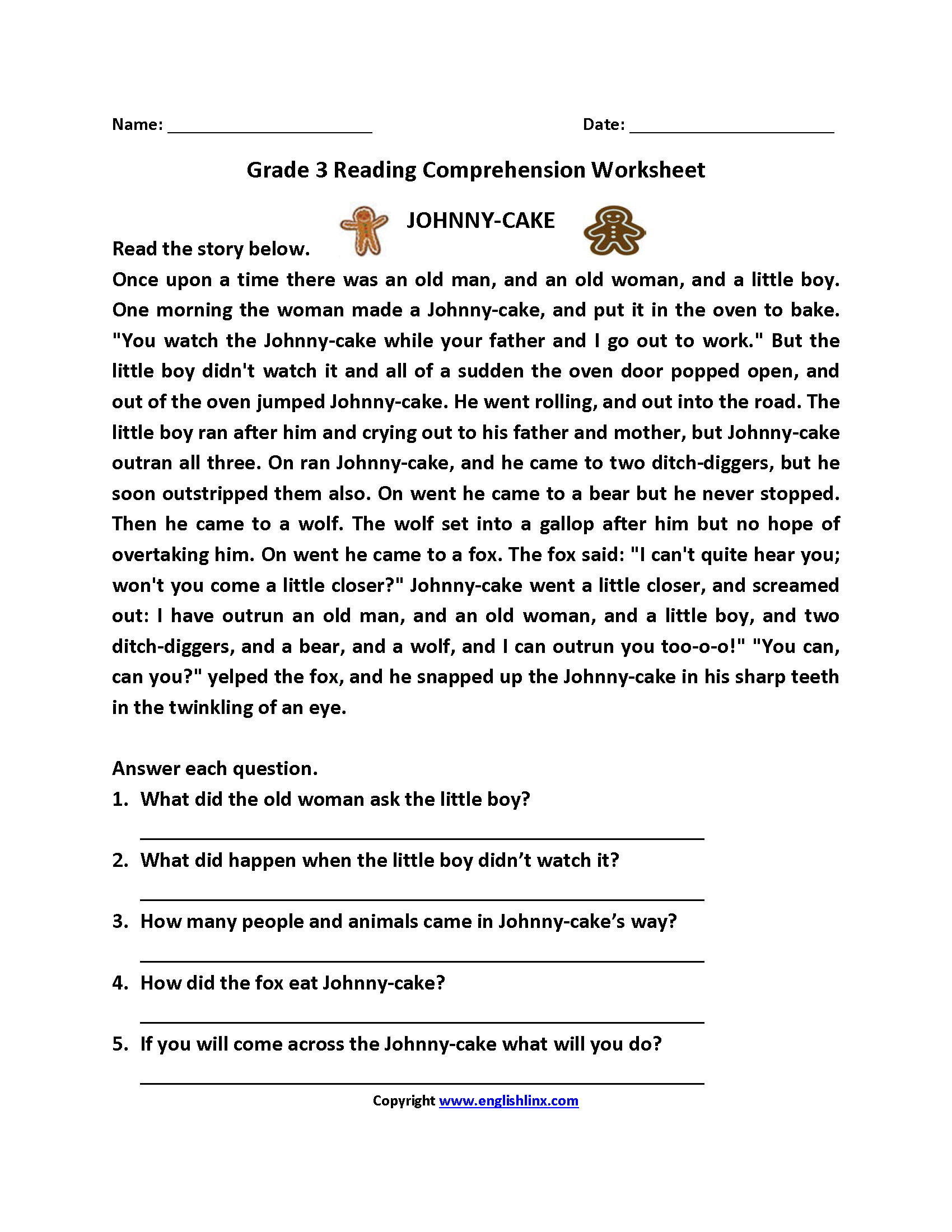 2nd Grade Reading Comprehension Worksheets Pdf Free