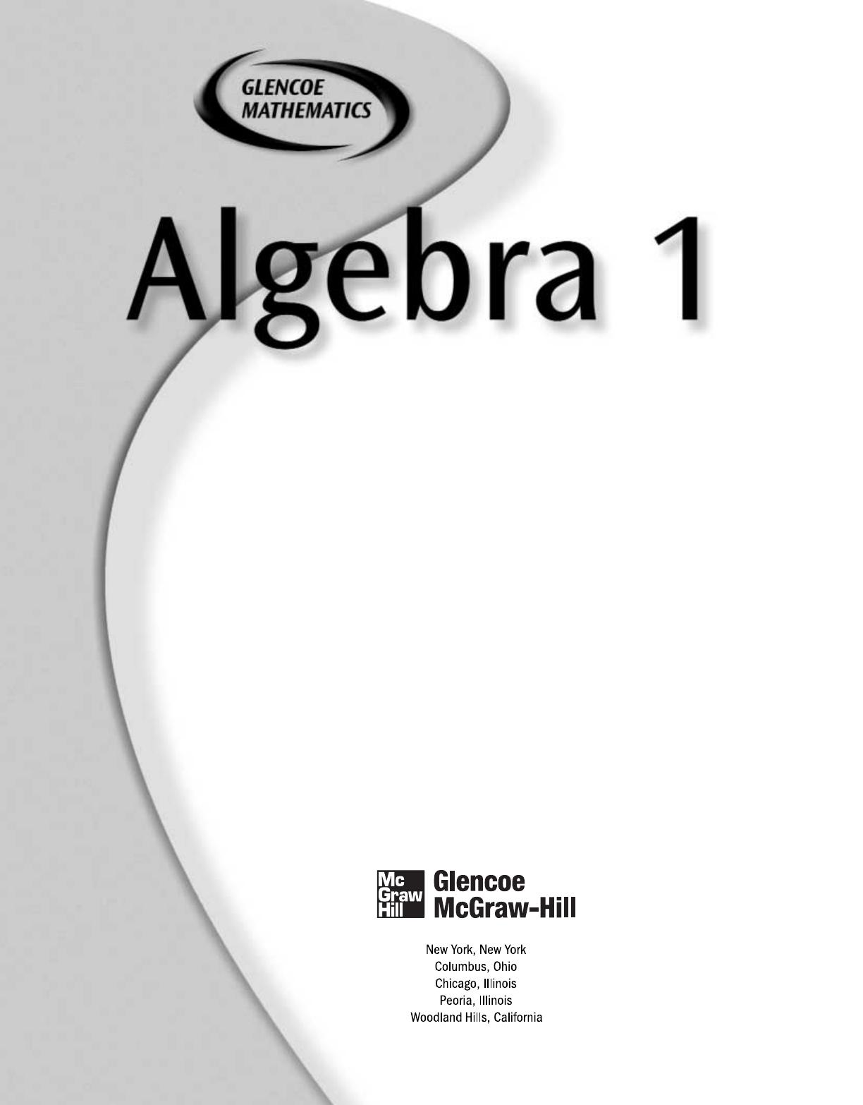 Algebra 1 Textbook Pdf Mcgraw Hill