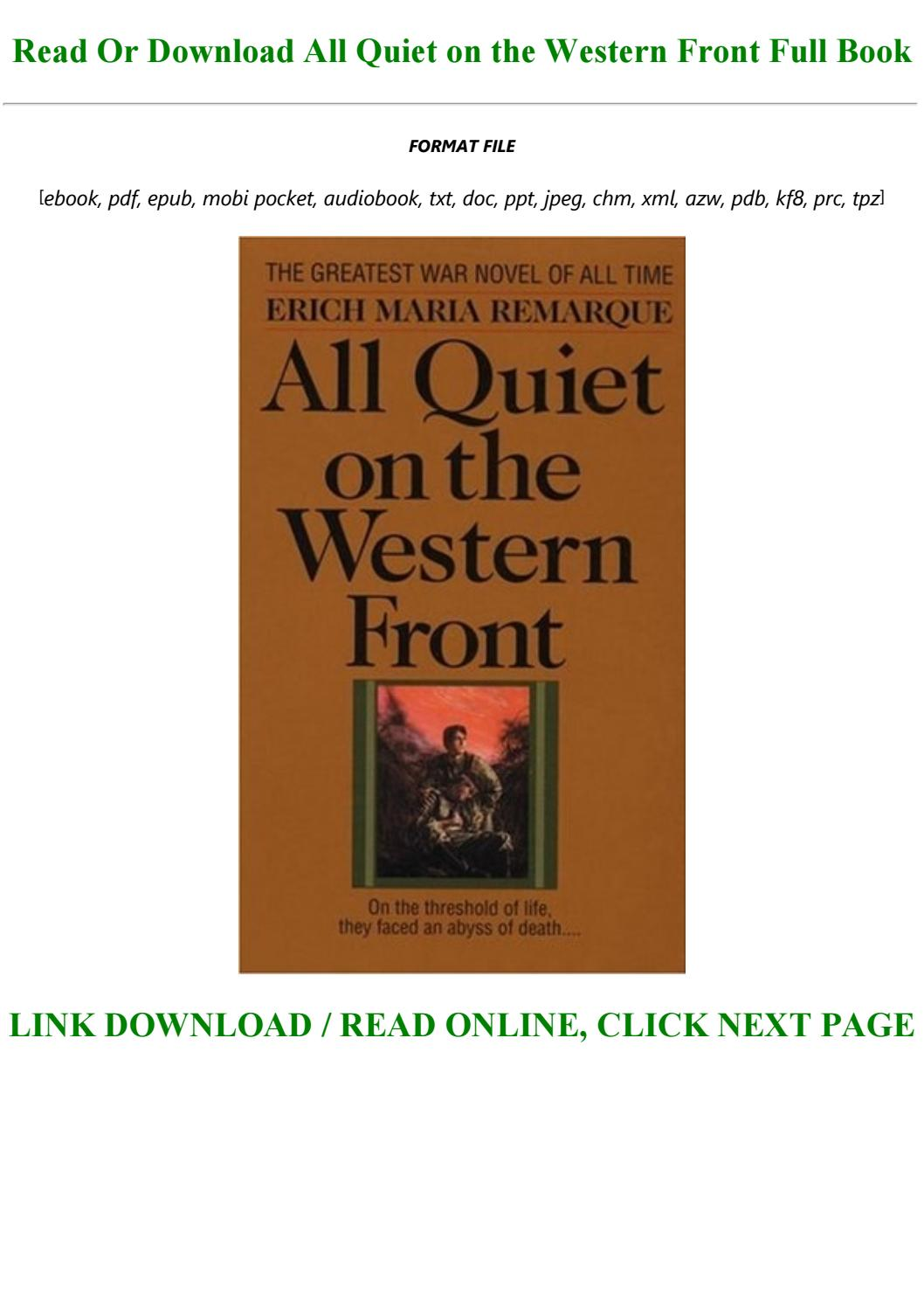 All Quiet On The Western Front Pdf Full Book
