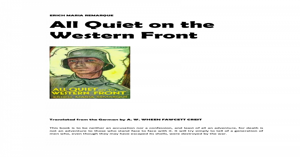 All Quiet On The Western Front Pdf Full Text