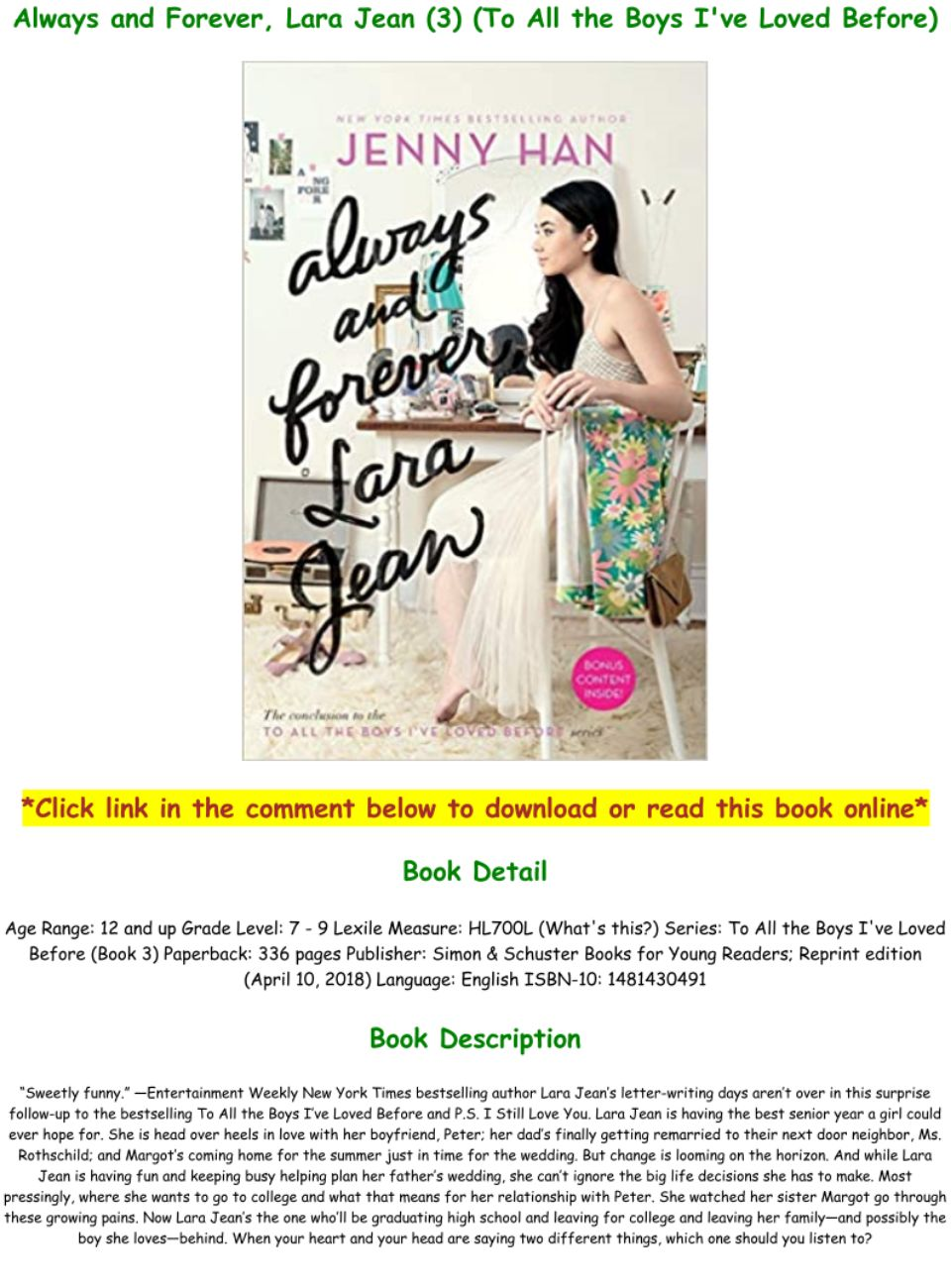 Always And Forever Lara Jean Pdf Download