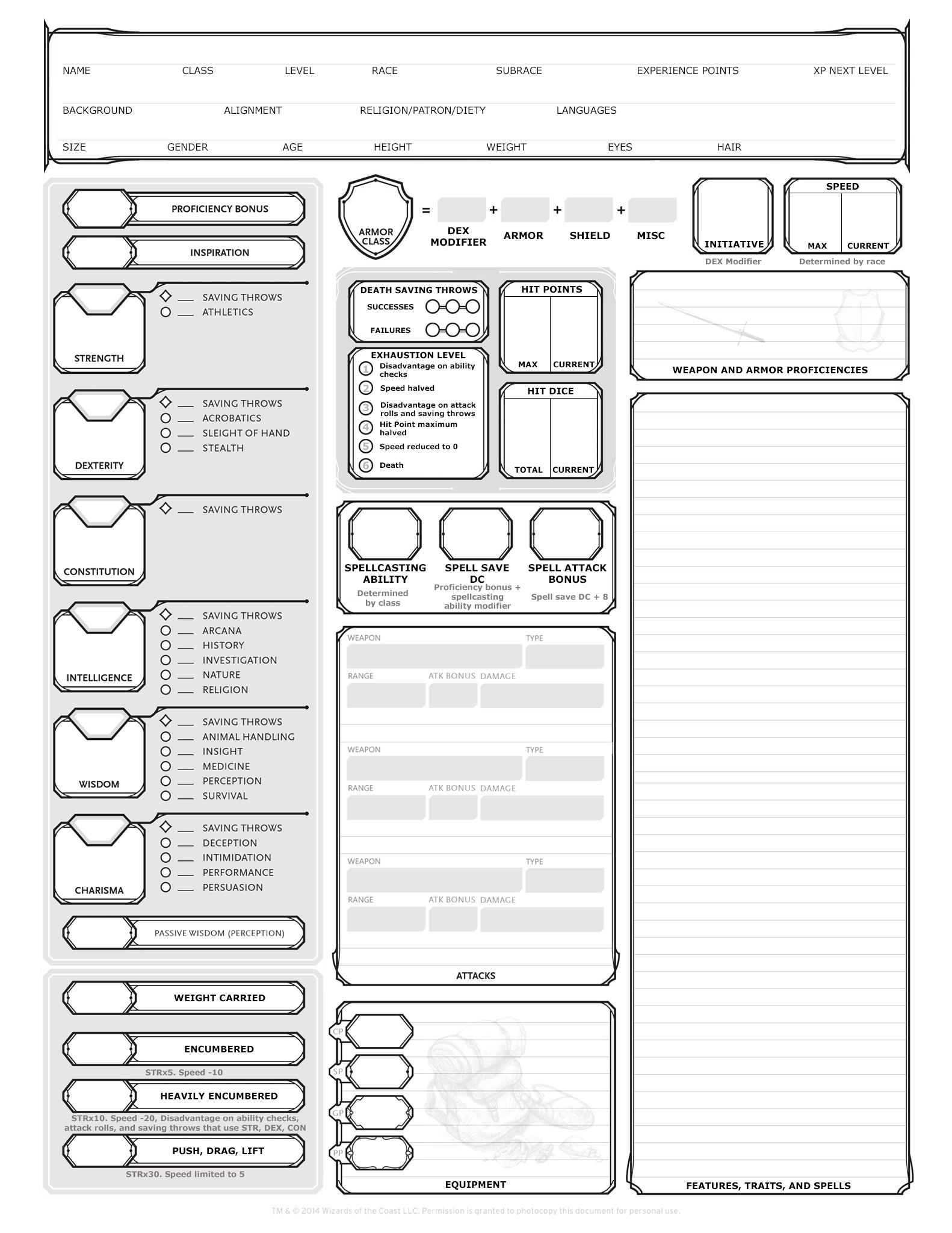 Blank Dnd Character Sheet Pdf