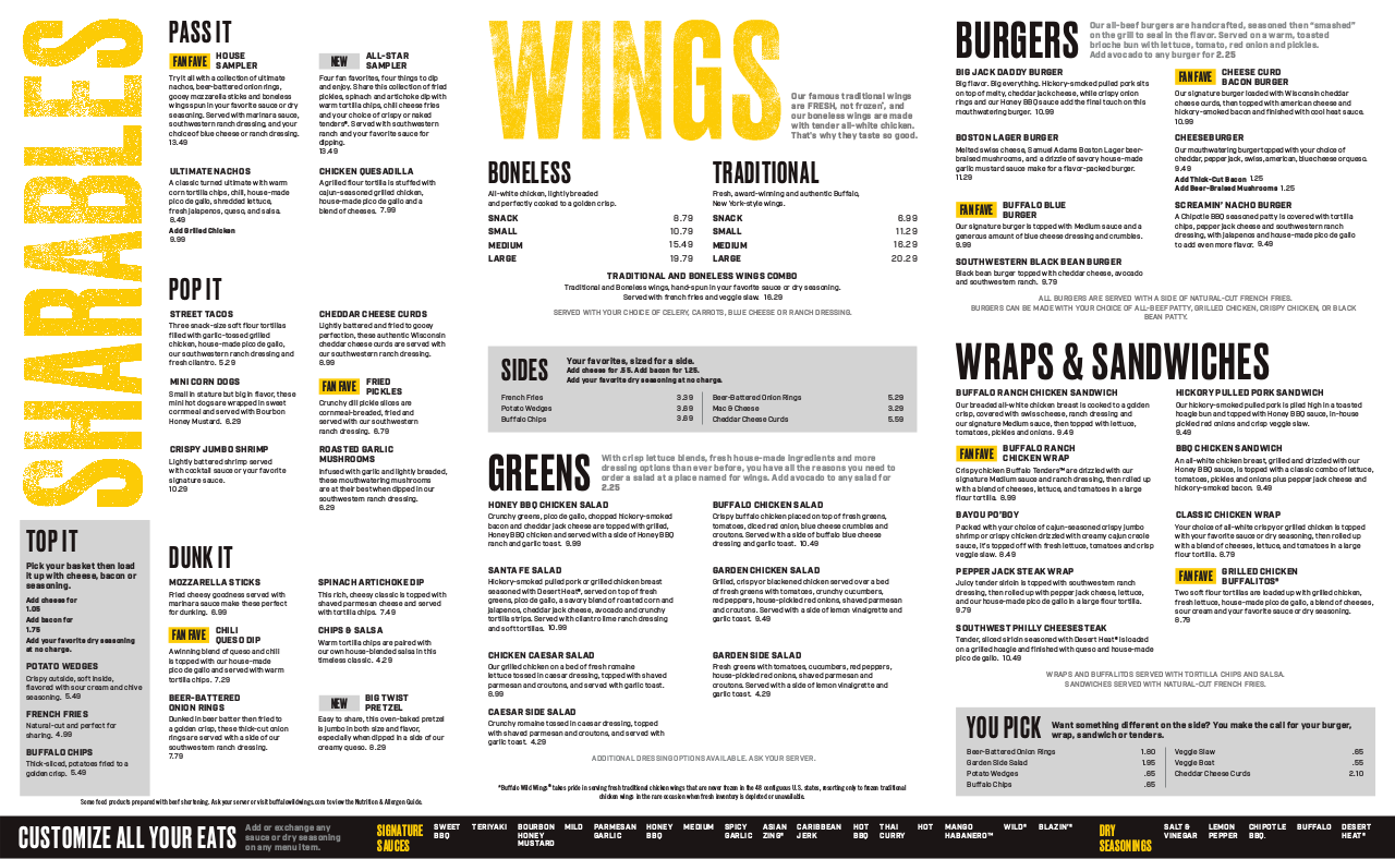 Buffalo Wild Wings Menu Pdf Prices