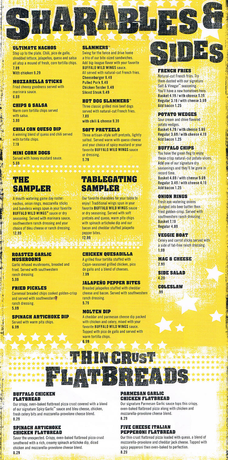 Buffalo Wild Wings Menu Pdf Sauces