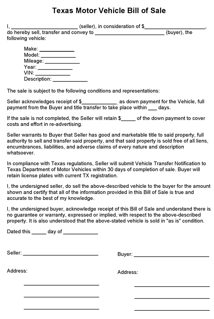 Car Vehicle Bill Of Sale Template Fillable Pdf