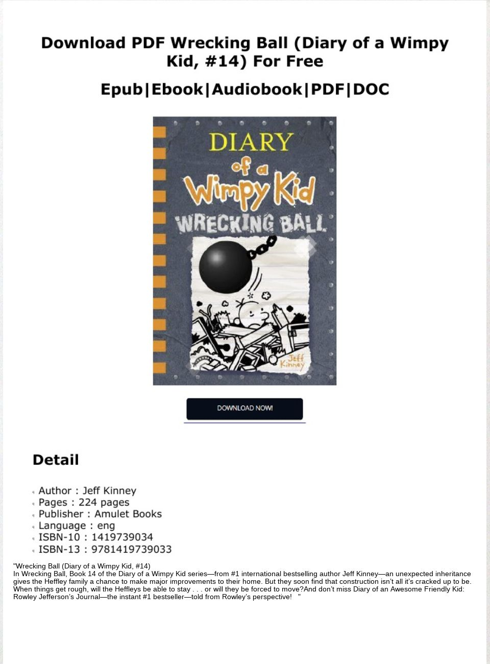 Diary Of A Wimpy Kid Pdf Wrecking Ball