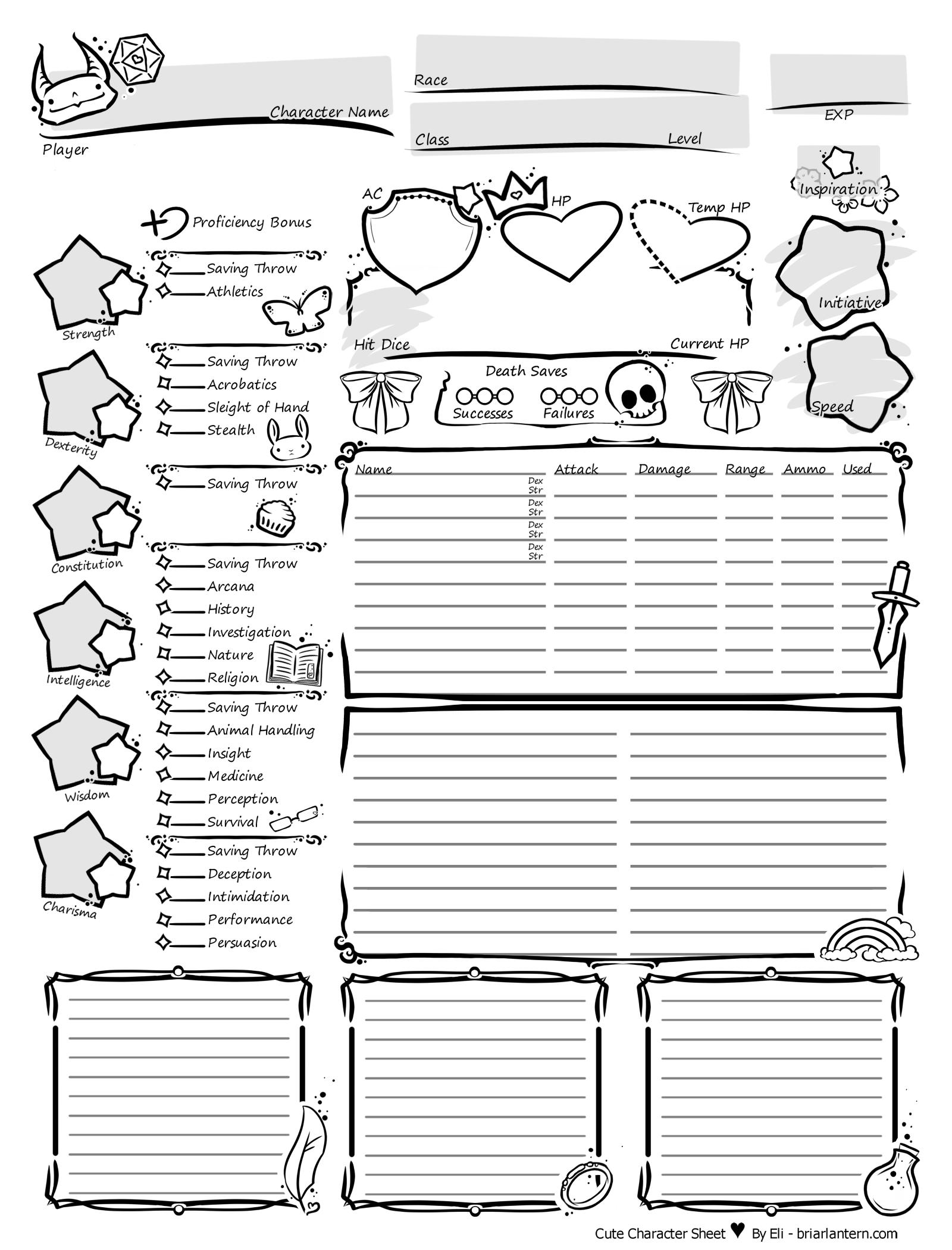 Dnd Character Sheet Pdf 5e