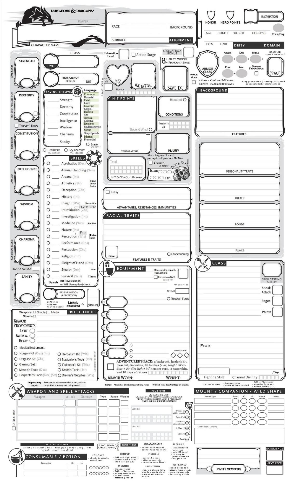 Dnd Character Sheet Pdf Editable