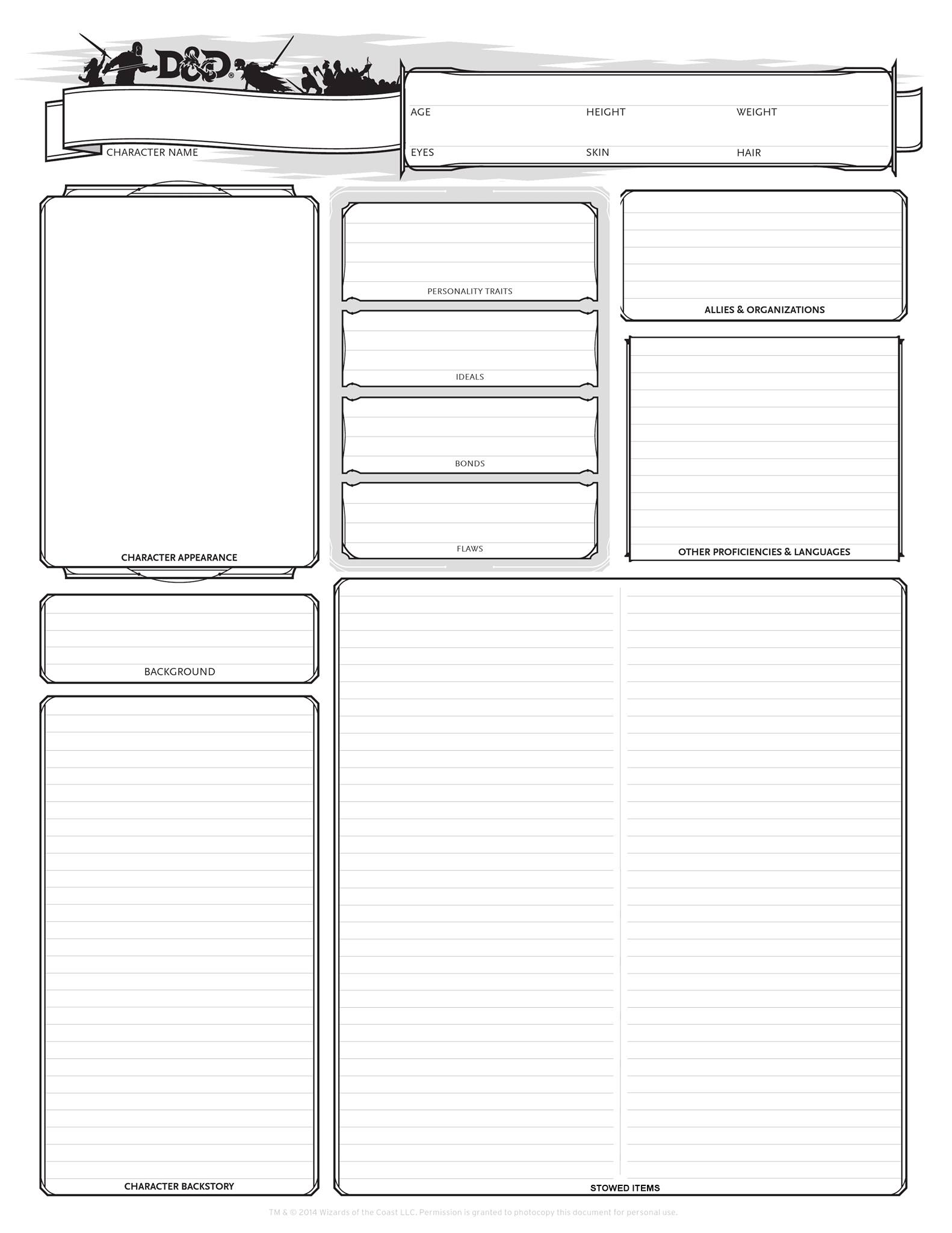 Dnd Character Sheet Pdf Printable