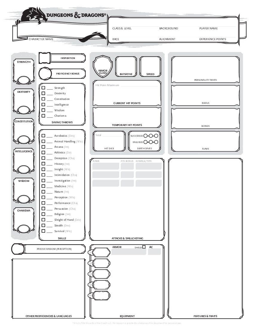 Dnd Character Sheet Pdf