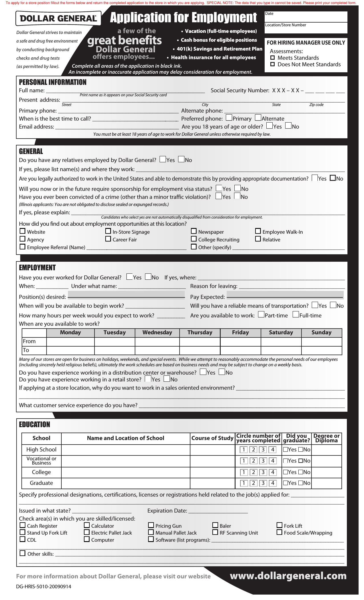 Dollar General Application Pdf