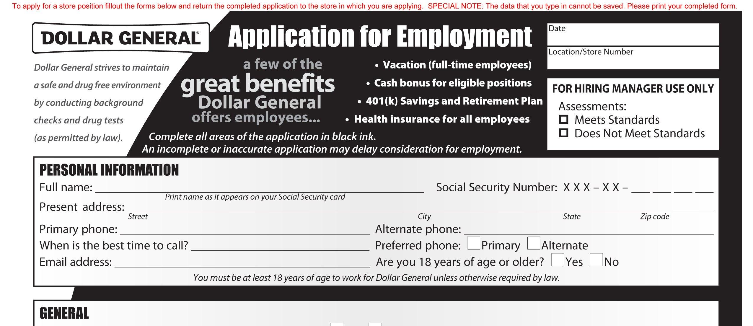 Dollar Tree Job Application Pdf