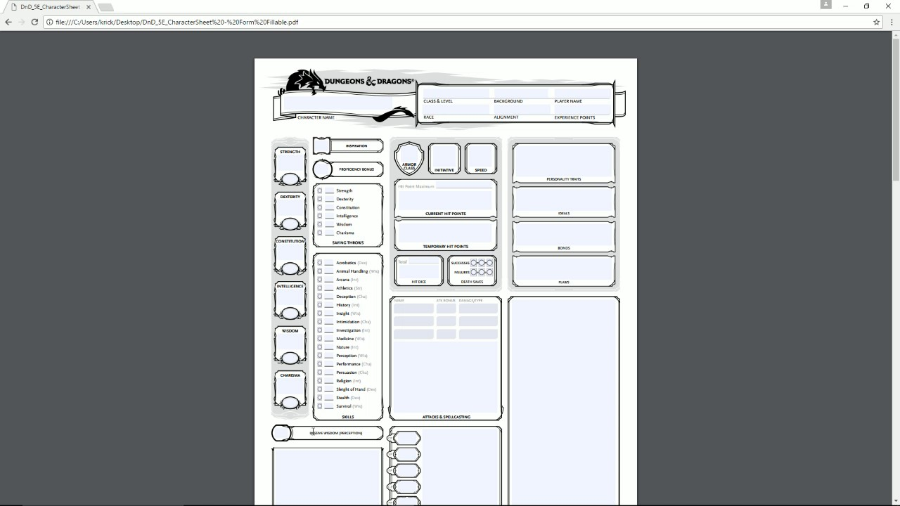 Downloadable Dnd Character Sheet Pdf