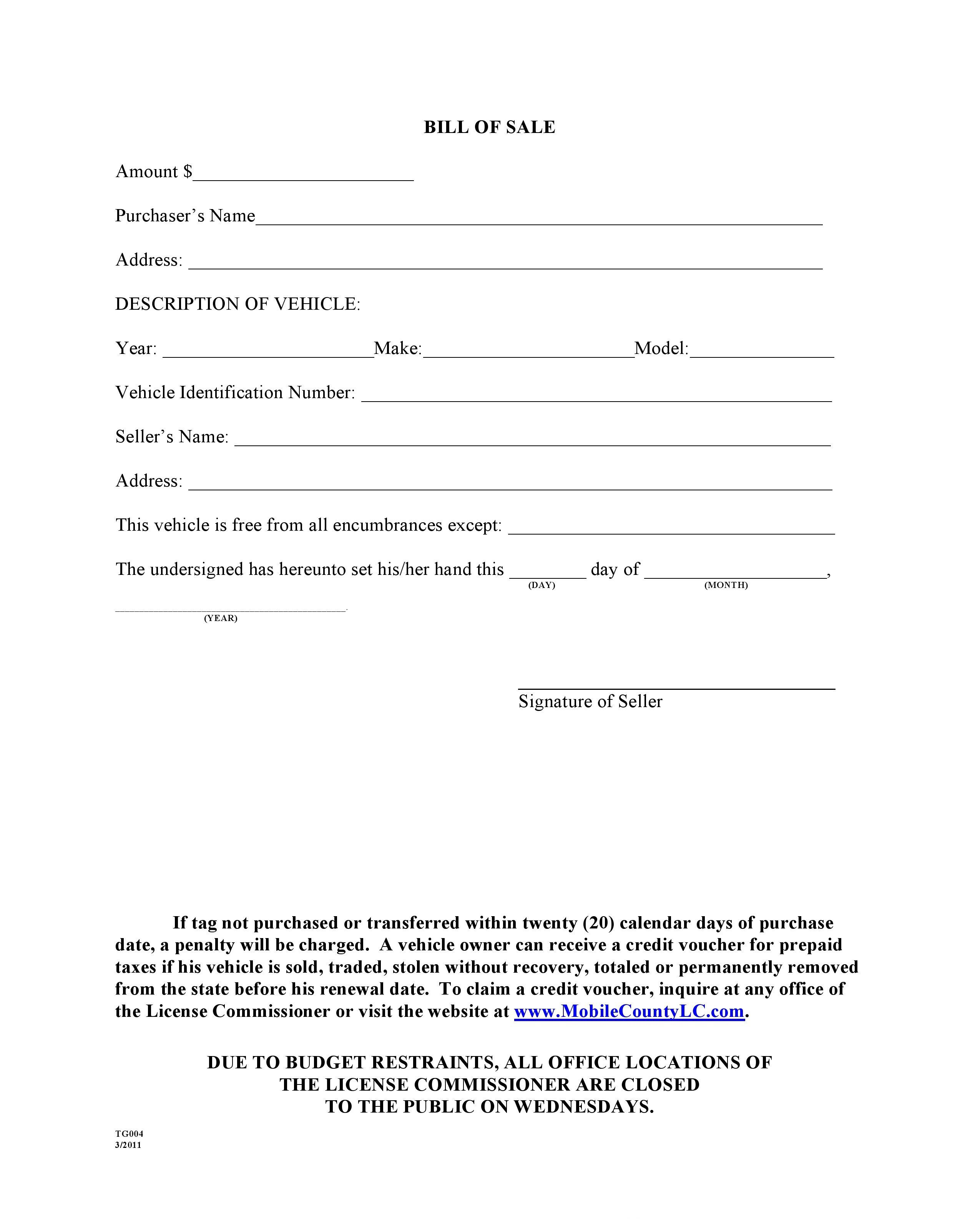 Downloadable Vehicle Bill Of Sale Template Fillable Pdf