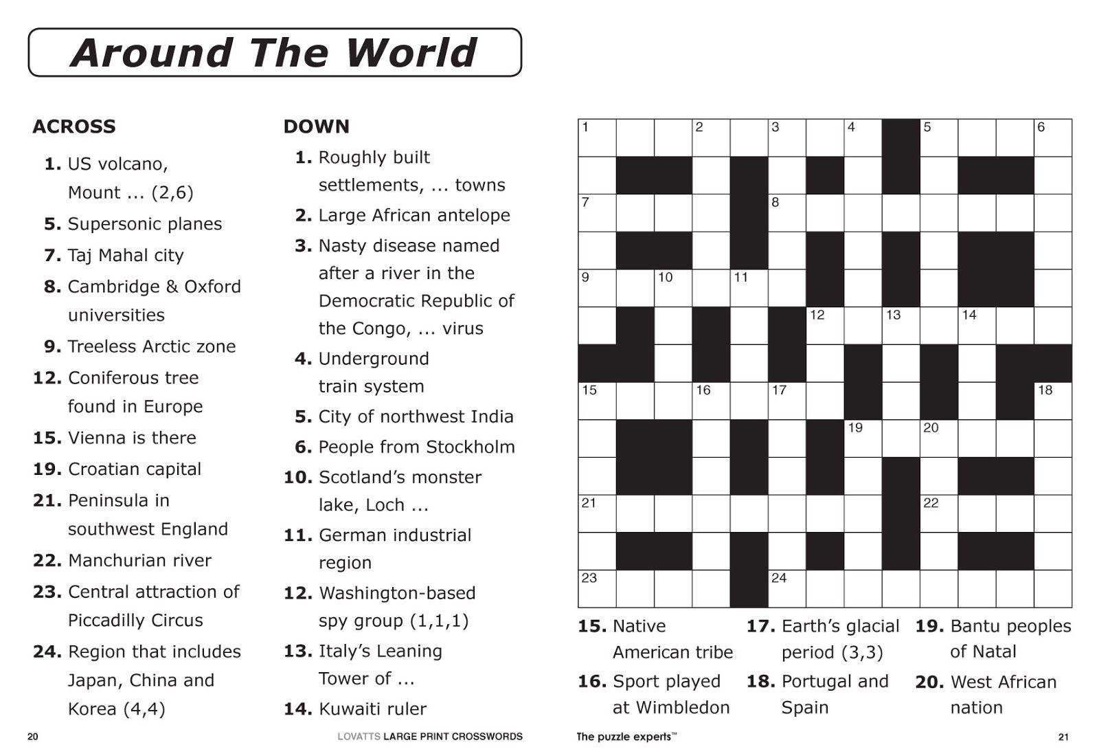 Easy Printable Crossword Puzzles Pdf