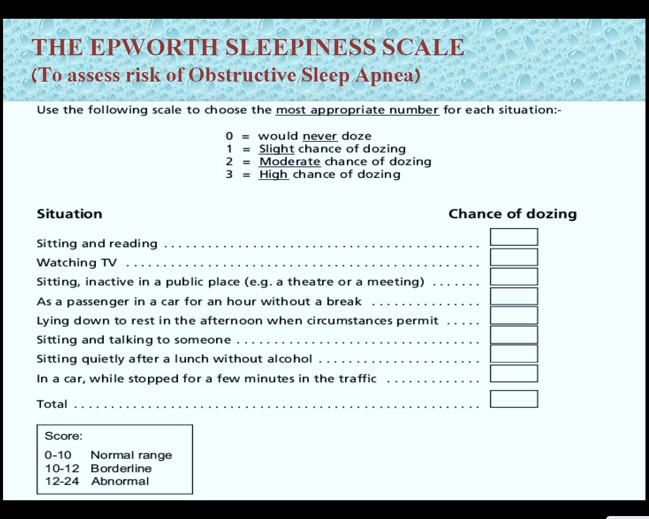 Epworth Sleepiness Scale Pdf Interpretation