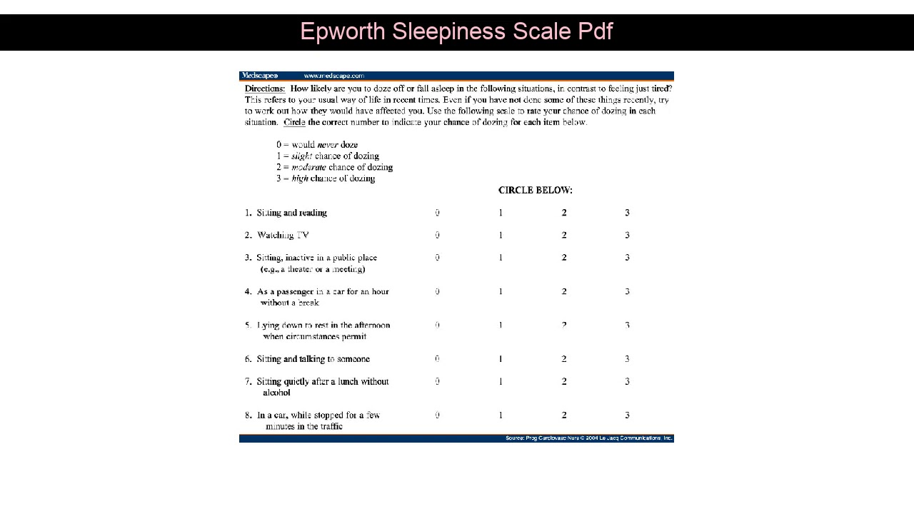 Epworth Sleepiness Scale Pdf