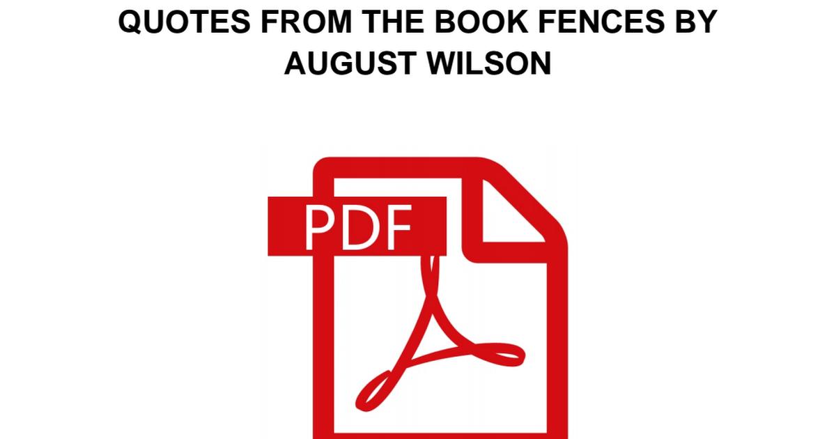 Fences August Wilson Pdf Book